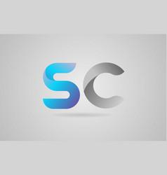 Grey blue alphabet letter sc s c logo icon design vector