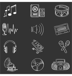 Hand drawn music icon set vector image