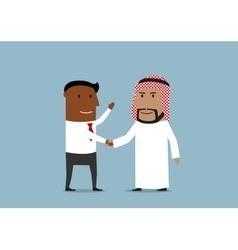 Handshake of american and arabian businessmen vector