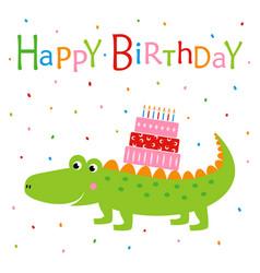 happy birthday with crocodile vector image