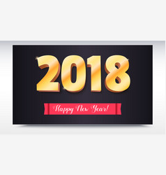 happy new year 2018 volumetric numbers from gold vector image