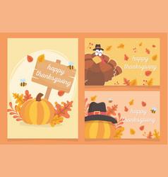 Happy thanksgiving inscription turkey pumpkins vector