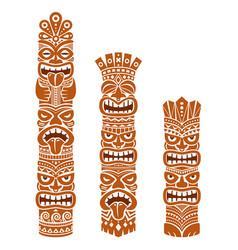 Hawaiian polynesia tiki pole totem design vector