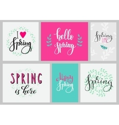 Hello spring typography set vector