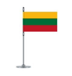 lithuanian flag on the metallic pole vector image