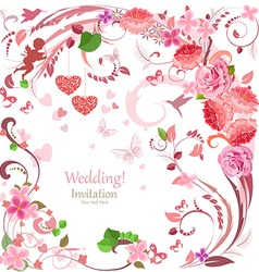 lovely invitation card with flowers and hearts for vector image