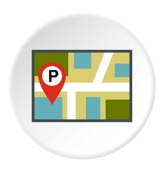 Map of GPS with parking sign icon flat style vector