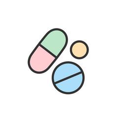 Medical pills health tablet drug flat vector