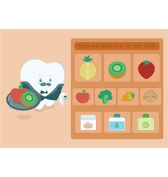 Menu foods and drinks for teeth vector