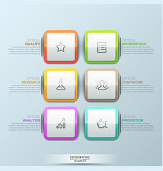 Modern infographic design template 6 multicolored vector