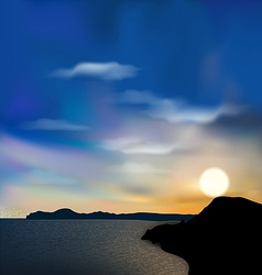 Nature background sea mountain sun sky during vector