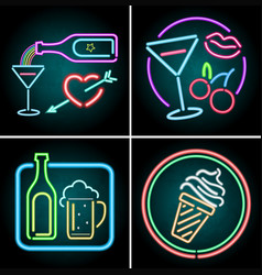 Neon light design for food and beverage vector