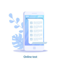 online test computer quiz form on smartphone vector image