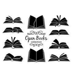 open books black silhouettes vector image