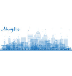 Outline memphis tennessee city skyline with blue vector