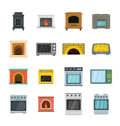 Oven stove furnace fireplace icons set flat style vector