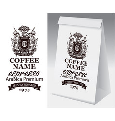 paper package with label for coffee beans vector image