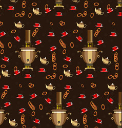 pattern samovar cups of tea and bagels for tea vector image