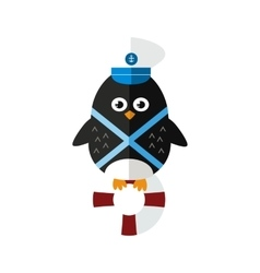 Penguin sailor animal character vector image