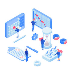 Planning time experts isometric vector