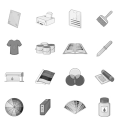 Print process icons set monochrome style vector