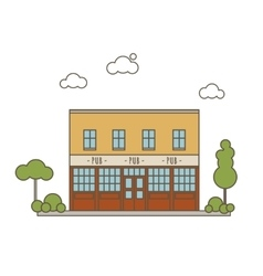 Pub Building Flat Style vector