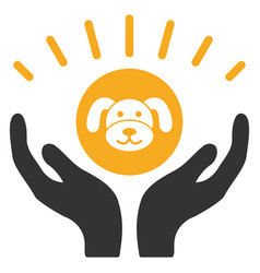 Puppycoin prosperity hands flat icon vector