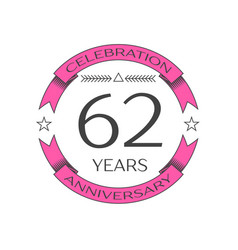 Realistic sixty two years anniversary celebration vector