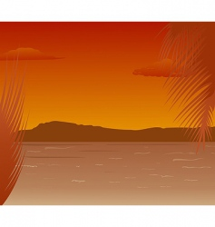 sea landscape with mountains sunset vector image