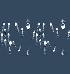 Seamless pattern fish skeletons on a gray backg vector