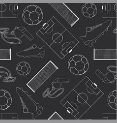 Seamless pattern football black vector