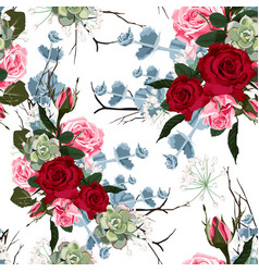 seamless pattern with red pink roses and succulent vector image