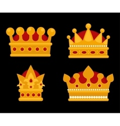 Set of gold crown flat icons vector