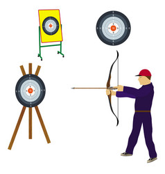 Shooter with bow and target vector