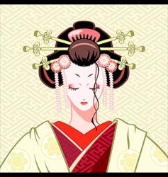 shy geisha vector image