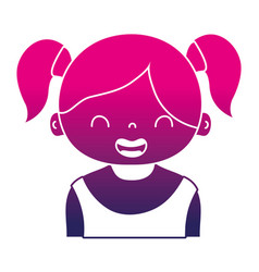 silhouette smile girl with two tails hair design vector image