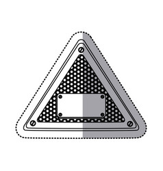 Sticker silhouette triangle metallic frame with vector