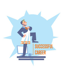 Successful career banner with businessman vector