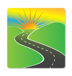Sun hills and road design vector image