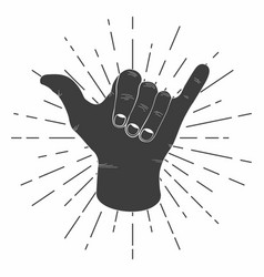 Surfing shaka hand with retro sunburst vintage vector