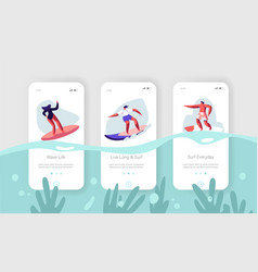 surfing sport recreationmobile app page onboard vector image