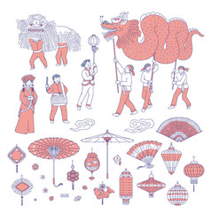 symbols chinese new year people in traditional vector image