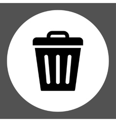 Trash Can flat black and white colors round button vector image