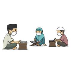 Ustaz and students character read koran vector