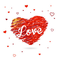 valentine heart created from red lines and white vector image vector image