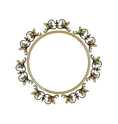 Vintage round swirl flourish decoration frame vector