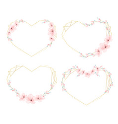 watercolor cherry blossom heart golden wreath vector image
