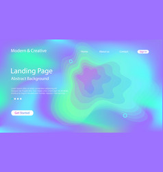 website fluid holographic landing page template vector image