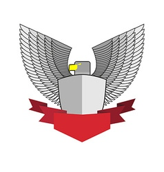 White hawk with shield and red ribbon bird and vector