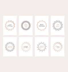 winter vintage wreath template christmas vector image